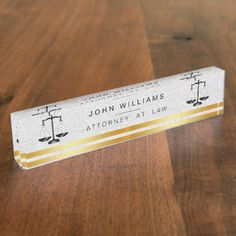 Attorney At Law Gold Black Legal Scale Classic Nameplate - professional gifts custom personal diy