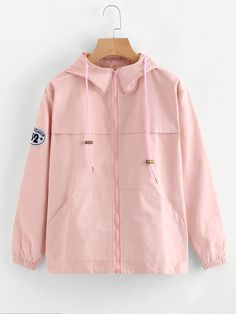 Shop Hooded Patch Detail Zip Up Jacket online. SheIn offers Hooded Patch Detail Zip Up Jacket & more to fit your fashionable needs.