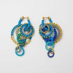 circle pierce/earring S Skyblue mix Wire Jewelry Earrings, Tatting Earrings, Scarf Jewelry, Beaded Earrings, Crochet Earrings, Jewelery, Crochet Jewelry Patterns, Crochet Accessories, Fashion Accessories