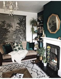 moody living room vibes // green accent wall // geometric gold mirror // white and black pattern rug - #accent #black #geometric #gold #Green #living #Mirror #Moody #pattern #room #rug #Vibes #wall #white