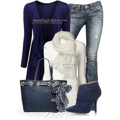 """Michael Kors Scarf Tote & Blue Cardigan"" by casuality on Polyvore"