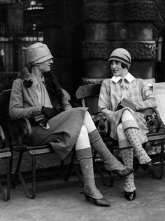 Check out those knit spats/gaiters on the ladies! Can we bring that back for…