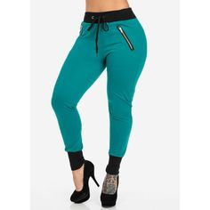 Teal Joggers with Front Zippers ($8) ❤ liked on Polyvore featuring activewear, activewear pants, pants, jeans and joggers