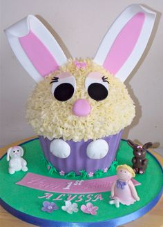 Bunny themed giant cupcake