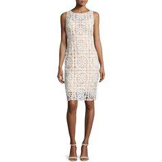 Jovani Sleeveless Macrame Sheath Dress ($525) ❤ liked on Polyvore featuring dresses, white sleeveless dress, white day dress, open back dresses, scalloped dress and jovani dresses
