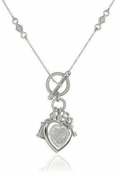Sterling silver diamond heart key pendant necklace 110 cttwi j sterling silver diamond heart key pendant necklace 110 cttwi j colori2 i3 clarity18 jewelry amazon needful things pinterest key pendant mozeypictures Image collections