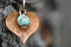 Earthy Copper Leaf and Magnesite Leather Necklace by LaceCharming on Etsy $12