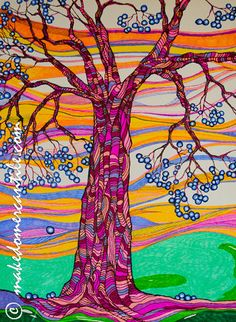 SOLD!!! Sharpie Marker Art The Blue Berry Tree 5x7 by makedomercantilearts, $19.79