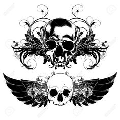 decorative art background with human skulls and wings Dime Bags, Abdomen Tattoo, Wings Drawing, Tattoo Drawings, Tattoos, Human Skull, Art Background, Skull Art, Back Tattoo