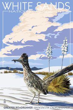 White Sands National Monument, New Mexico - Roadrunner - Lantern Press Artwork Giclee Art Print, Gallery Framed, Black Wood), Multi National Park Posters, National Parks, New Mexico, Santa Fe, Party Vintage, Voyage Usa, White Sands National Monument, Grand Parc, Retro
