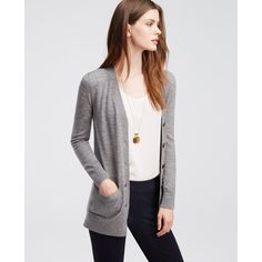 Ann Taylor Merino Wool Boyfriend Cardigan (105 CAD) ❤ liked on Polyvore featuring tops, cardigans, smokey charcoal, merino top, ann taylor tops, boyfriend tank top, boyfriend cardigan and long sleeve tops