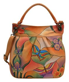 Another great find on #zulily! Butterfly Glass Hand-Painted Leather Convertible Crossbody Bag #zulilyfinds