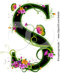K Letter In Flower ... about LETTER S on Pinterest | Letters, Drop cap and Monogram letters