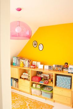 Bins, color, lighting fixture http://windandwillowhome.bigcartel.com/ eclectic home office by Planet Fur