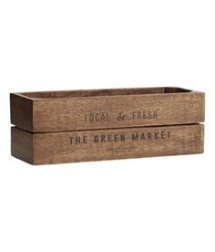 Check this out! Small, rectangular box in antique-finish wood with a printed text design at front. Appearance may vary from product to product. Feet at base. Size 4 x 4 x 11 1/2 in. - Visit hm.com to see more.