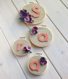 This handsome decoration is the perfect addition to any little ladies room! Linen fabric set in a wooden hoop, this piece displays the letter of your