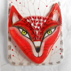 Original wall decor Red fox head  with branches  made with paper clay OOAK by miliaart studio