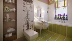 Bathroom for girl; I really like the wall murals in the pen & ink sketch style.
