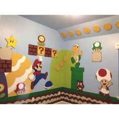 Mario Brothers Room (For Ryder) Super Mario Room, Super Mario Birthday, Mario Birthday Party, Super Mario Party, Mario Y Luigi, Mario Kart, Boy Room, Kids Room, Mario Crafts