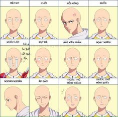 Saitama, different emotions, faces, text; One Punch Man - One Punch Man ワンパンマン Manga Anime, Anime One, Anime Guys, Manga One Punch Man, One Punch Man Funny, Saitama Sensei, Genos X Saitama, Saitama Anime, Saitama One Punch Man