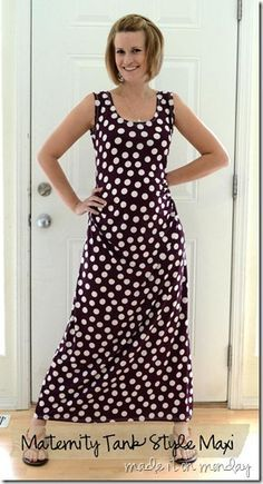 DIY maternity and non-maternity maxi dress with side ruching. Make your own pattern from a tank top.