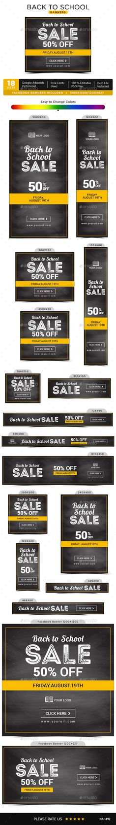 Back to School Sale Banners Template PSD. Download here: https://graphicriver.net/item/back-to-school-sale-banners/17473915?ref=ksioks