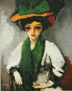 Kees Van Dongen (Dutch, 1877-1968), Femme au chapeau vert [Woman with green hat], c.1910. Oil on canvas, 92.3 x 73.5 cm.