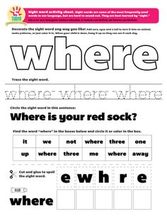 this weeks sight word where