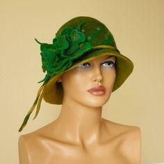 Felted hat green felt hat green brooch shades of by ZiemskaArt, $89.00