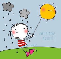 I want suuuun! Stick Figures, Cute Illustration, Cartoon Illustrations, I Wallpaper, Stars And Moon, Rock Art, Doodle Art, Cute Cartoon, Painting Inspiration