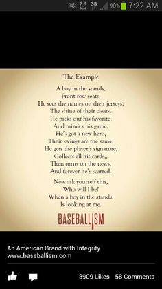 Baseballism- There are so many great role models in baseball but a few need to think about this. Baseball Treats, Baseball Boys, Baseball Boyfriend, Baseball Stuff, Football, Baseball Cards, Softball Quotes, Sport Quotes, Athlete Quotes