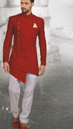 Royal red plain Sherwani.Get the outfit for Manufacturer rate call or WhatsApp at +91-9511613559 #hairstylesjents