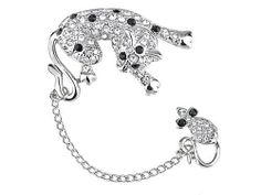 Fun Tom & Jerry Cat Mouse Playing Crystal Rhinestone Fashion Jewelry Pin Brooch Alilang. $17.99