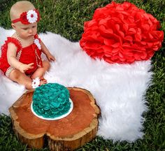 Red and teal outdoor cake smash