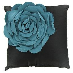 Beautiful black pillow with blue flower!  Also take a look at our World's only one of a kind orthopedic solution to sooth your back campaign: www.indiegogo.com... #Backpain