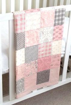 Modern Patchwork Baby Blanket Pink Girl Infant Crib by Kath1974