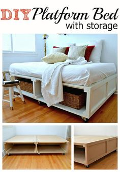 A DIY platform bed frame with tons of storage for a small bedroom.
