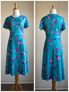 Vintage 70s Turquoise Floral Midi Dress// Pink by TheRubyOlive, $30.00