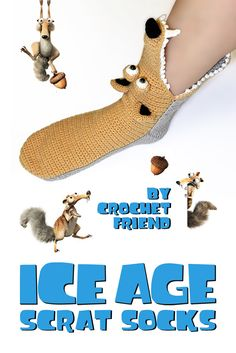 ICE AGE Scrat Slippers Socks by Crochet Friend / Funny Warm Home Shoes / Adult s… ICE AGE Scrat Slippers Socks by Crochet Friend / Funny Warm Home Shoes / Adult size / Worldwide Shipping These funny crochet Scrat slippers… Continue Reading → Knitting Humor, Crochet Humor, Knitting Socks, Funny Crochet, Crochet For Kids, Crochet Baby, Knit Crochet, Slipper Socks, Crochet Slippers