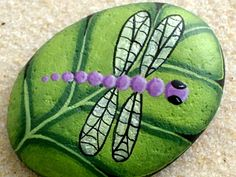Purple dragonfly on chartreuse leaf-painted rock-unique OOAK 3D art-collectible…