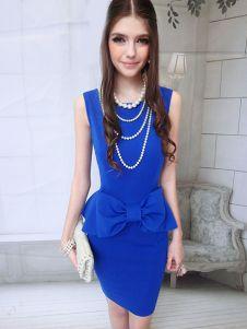Chic Blue Bow Polyester Crewneck Sleeveless Women's Bodycon Dress