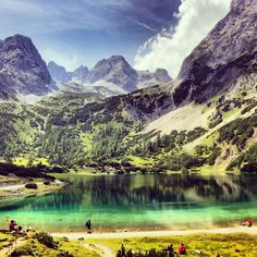 #seebensee at 1657m #austria #ehrwald #mountains #alps #sky #nature Salzburg, Bavaria, Alps, High Quality Images, Bing Images, The Good Place, Hiking, Clouds, Summer