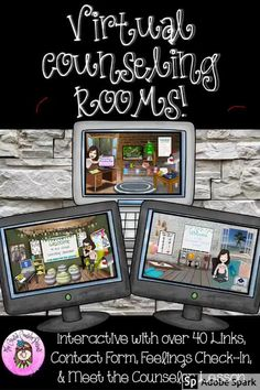 Make distance learning & virtual counseling exciting with these Virtual Counseling Rooms. We have all seen the fun, interactive Bitmoji classrooms, but it takes an enormous amount of time to design & create interactive links for just 1 room! The Virtual Counseling Office, Counseling Classroom, & Calming Corner come pre-linked with over 40 pre-linked objects. #DistanceLearningTpT #Coping #DistanceLearning #Digital #DigitalResources #GoogleSlides #CreativeCounselor #CreativeCounselingResources Virtual Counselor, School Counselor Office, Nurse Office, Counseling Office, Elementary School Counseling, World History Teaching, Counseling Activities, Student Gifts, Office Background