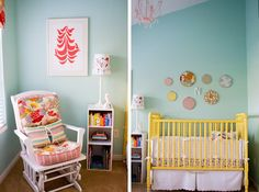 Caroline Armelle's blog Armelle has some fun creative ideas including this sweet, eclectic nursery for her little baby girl. My favorite item is the $5 crib picked up at a yard sale. Caroline spent hours priming and spraying yellow paint (13 cans), she also gave it 2 top coats. Tons of work – but she...