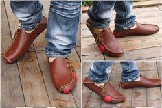 2016 zapatos populares para hombre Hombres planos de cuero genuino mocasines de conducción se deslizan en los zapatos de los hombres de los hombres calzado zapato casual Size6.5-11