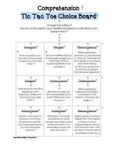 Comprehension tic tac toe menu