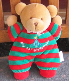 "7"" SOFT DREAMS My First 1st Christmas STRIPED RATTLE Bear 12 #SoftDreams"