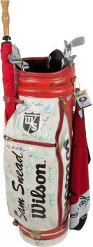1960's-70's Sam Snead Tournament Used Bag Signed by all past Masters Champions in attendance for the 2000 edition at Augusta.