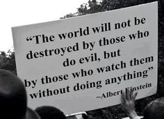 """The world will not be destroyed by those who do evil, but by those who watch them without doing anything."" -Albert Einstein"