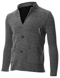 FLATSEVEN Mens Knit Jacket Sweater Cardigan 2 Button Stand Collar with Pocket (